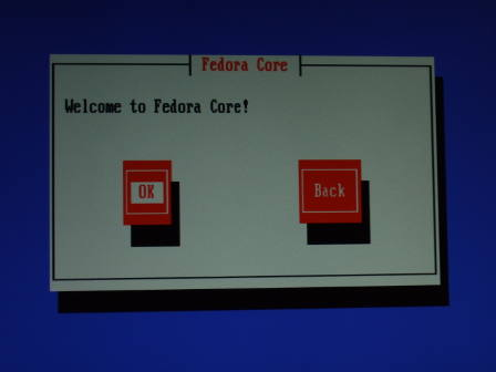Fedora Core 5 Welcome Screen